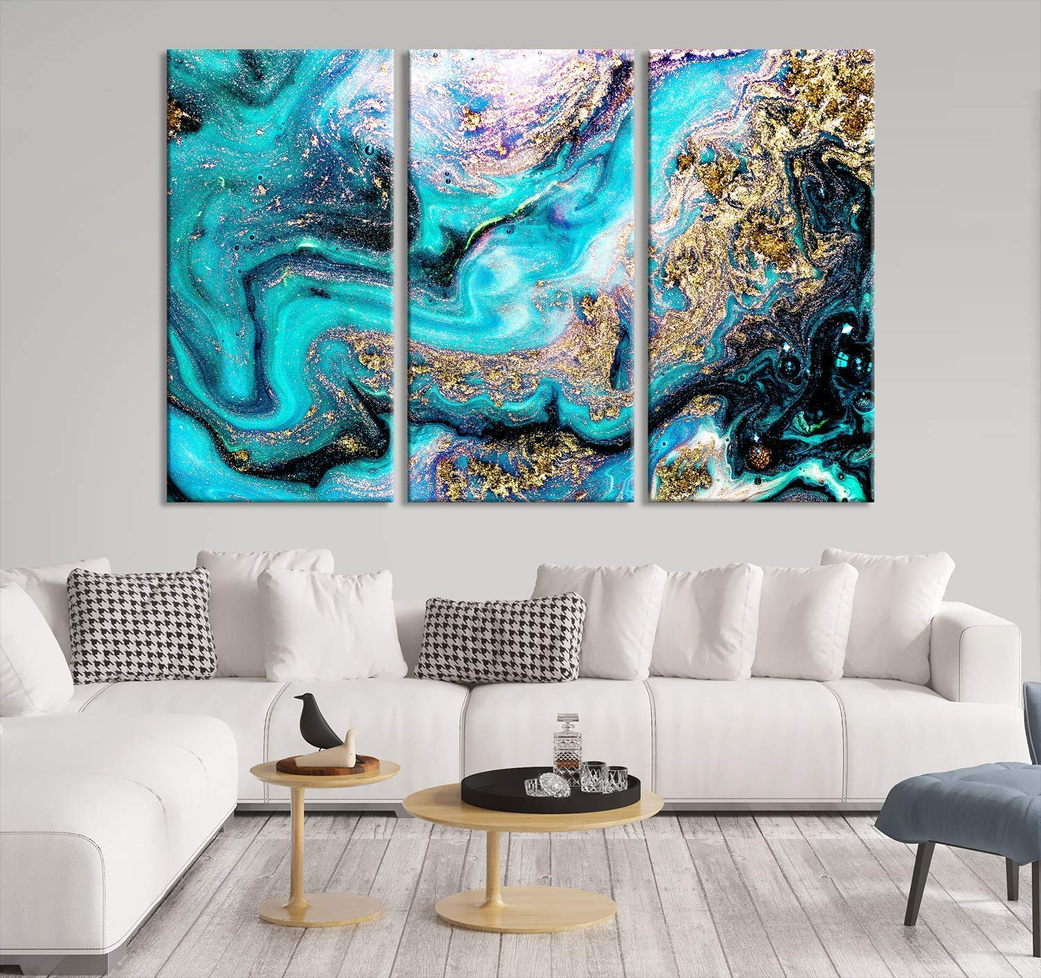Amazon.com: Emerald Abstract Painting Canvas Print  Abstract Wall