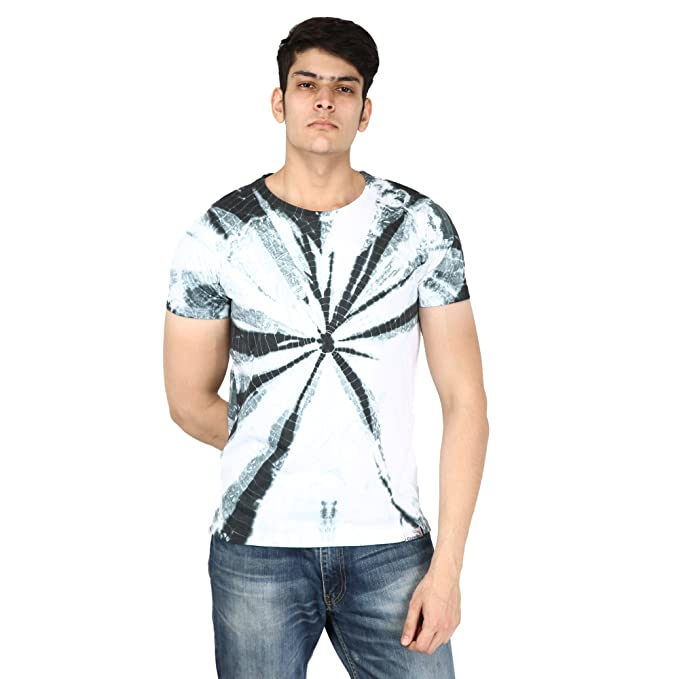 e94df040a Gazelles Cotton Round Neck Half Sleeve Tie-Dye Print Casual T Shirt for  Men's/
