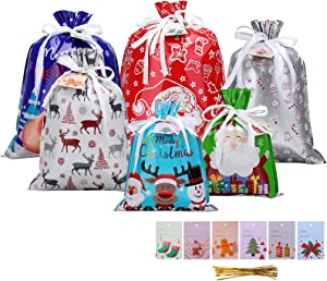 Christmas Drawstrings Gift Bags, MOHOO 30Pcs Assorted Christmas Gift-Wrapping Bags Upgraded 6 Pattern 4 Size with 30Pcs Christmas Gift Tags, Christmas Goodie Bags for Christmas Party