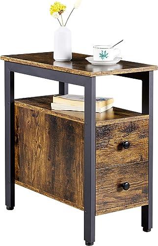YAHEETECH 2 Drawer Open Storage Shelf Narrow End Table