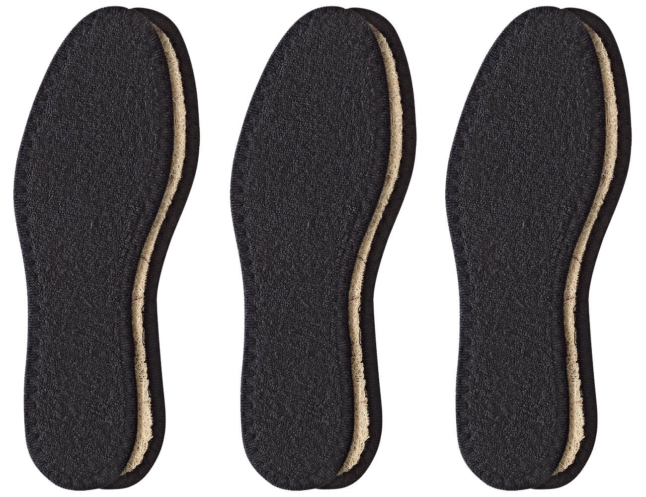 Pedag Washable Deo-Fresh Insoles with Natural Cotton Terry and Sisal Fibers for Men, US 15/EU 48, Black, 6.76 Ounce