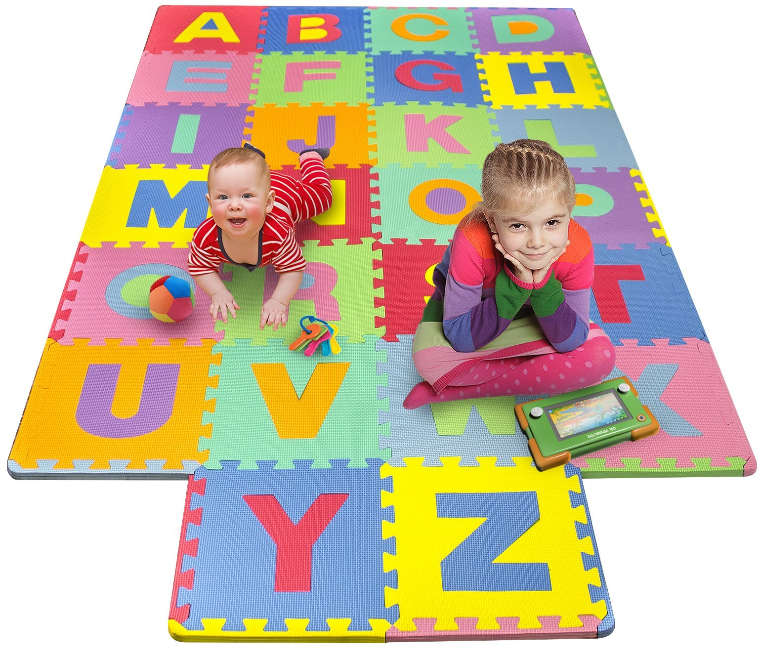 Matney Foam Mat of Alphabet Puzzle Pieces- Great for Kids to Learn and Play - Interlocking Puzzle Pieces by Matney®