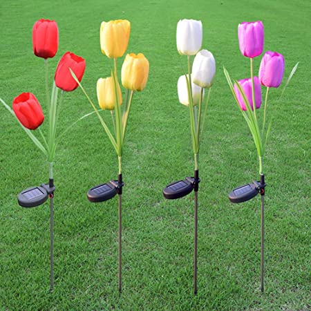 Jisen Flower Solar Power Lights 3 Tulip Outdoor Waterproof LED Lamps for Lamps Garden Yard Lawn Path Landscape Decoration Illumination