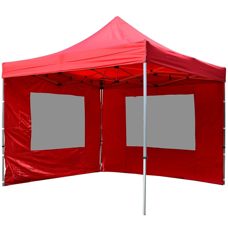 Nexos Falt Pavillon 3x3m rot 2 Seitenteile PROFI PROFI PROFI Ausführung wasserdichtes Dach 446e5d