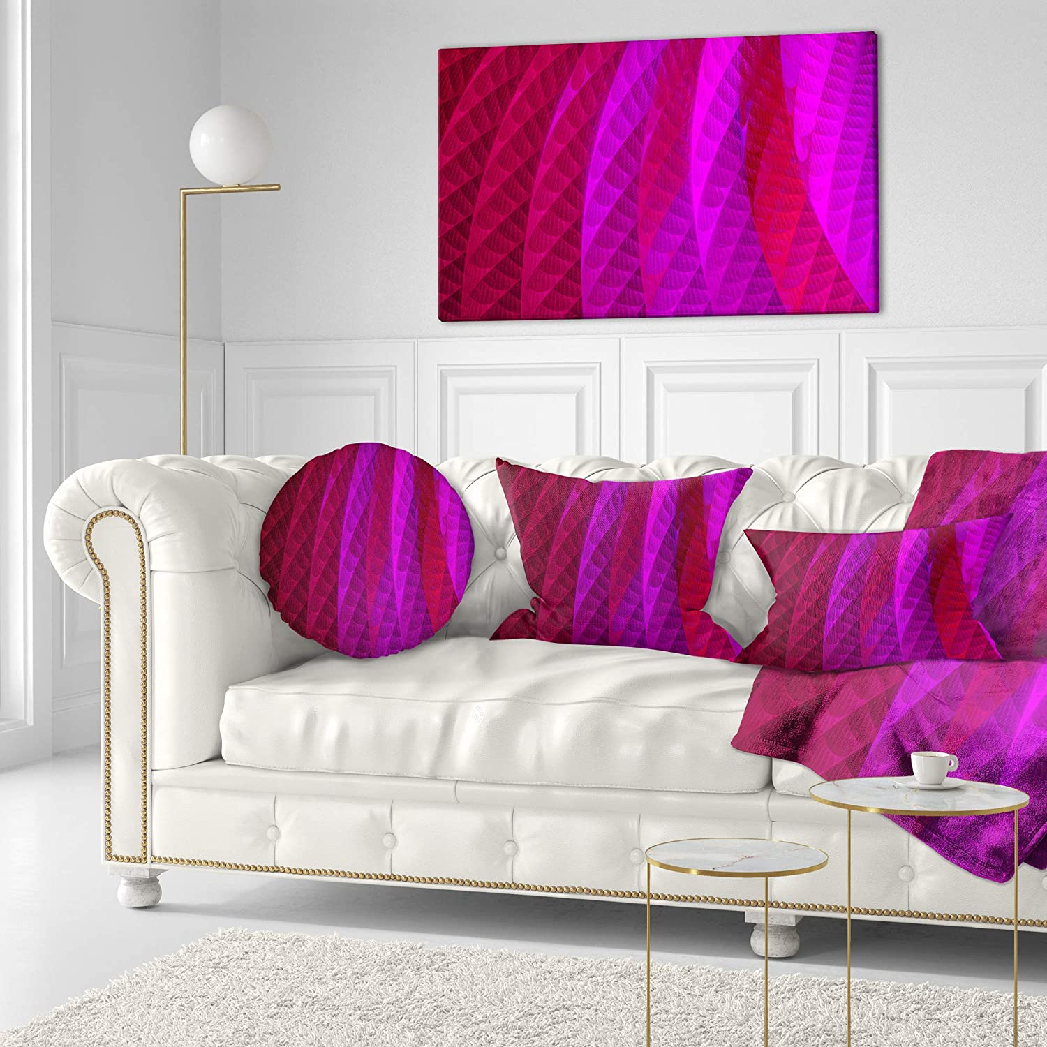 Insert Printed On Both Side Designart CU15955-16-16-C Layered Pink Psychedelic Design Abstract Round Cushion Cover for Living Room Sofa Throw Pillow 16