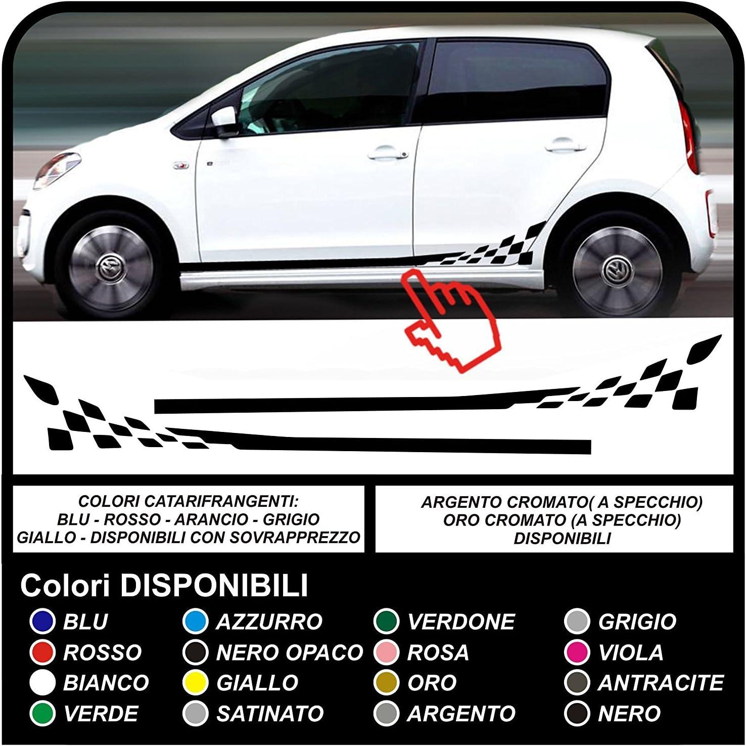 Grafic Checker Flagge Seitenstreifen Dekor Aufkleber Komplett Set 3 Und 5 Türer Schwarz Auto
