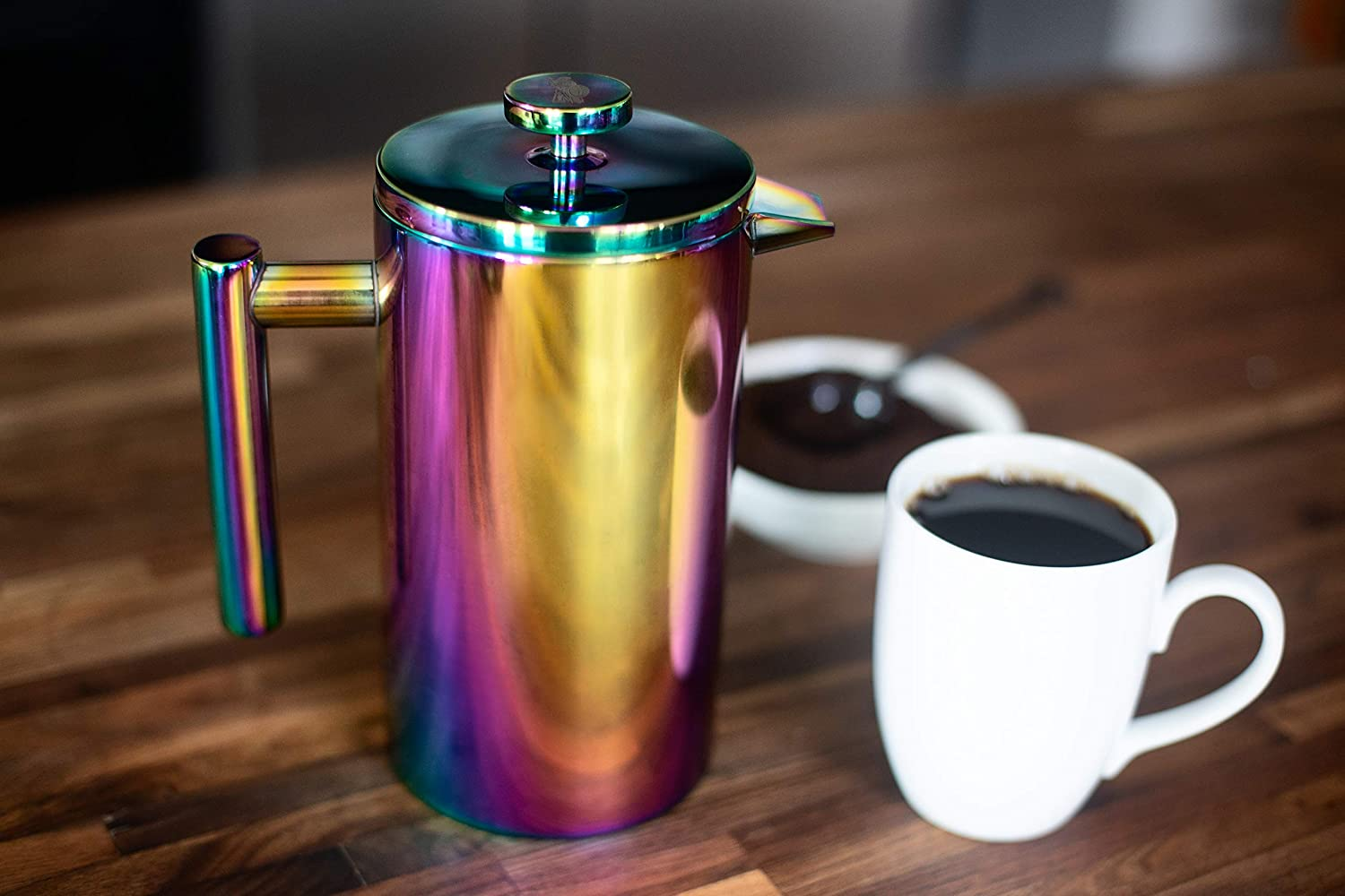 French Press Coffee Maker, Large Rainbow Iridescent Stainless Steel 34oz Double-Wall Insulated Tea Pot, Sustainable Cafetiere Kit Scoop, 2 Extra Filters, Great for Cold Brew, Travel Office Camping