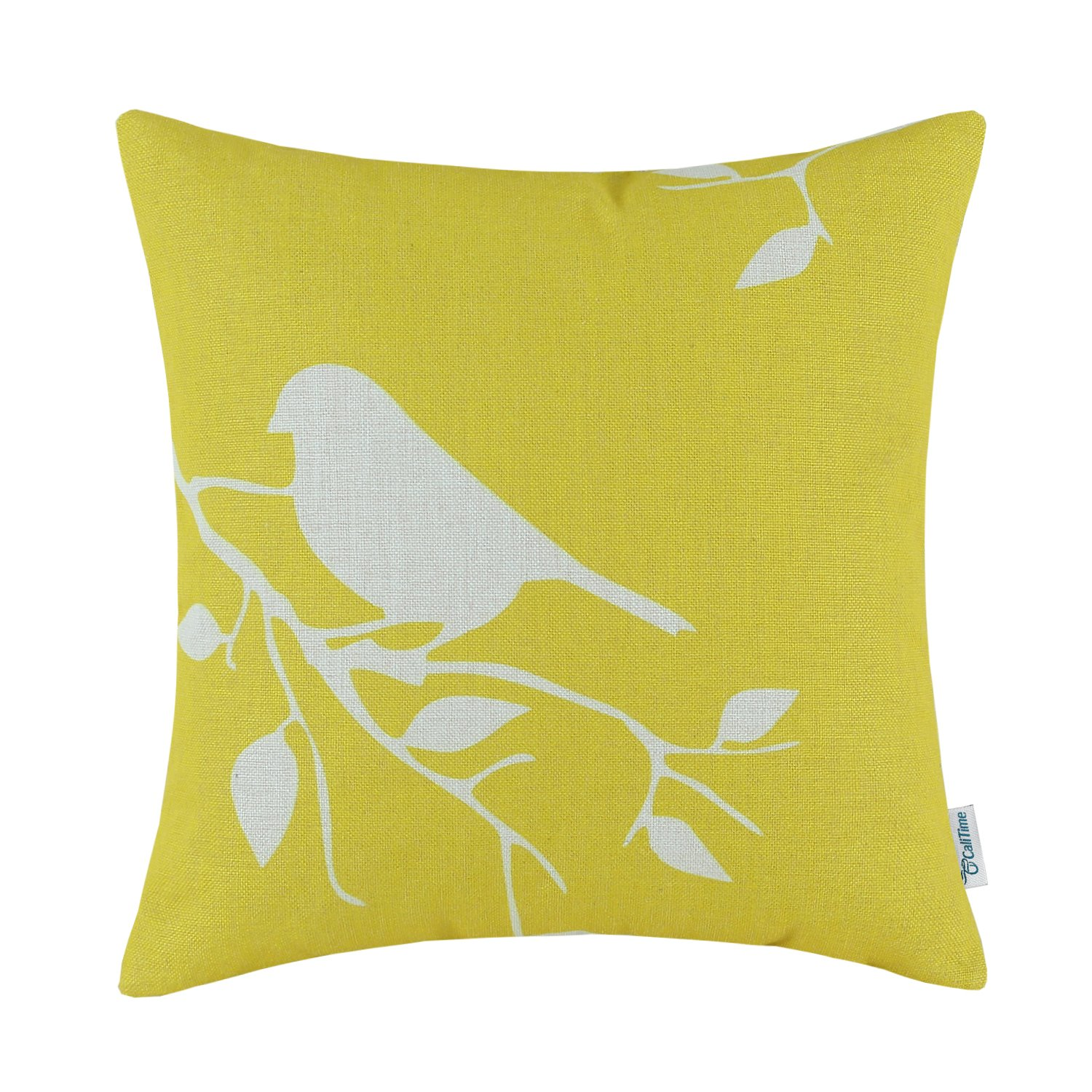 CaliTime Canvas Throw Pillow Cover Case Couch Sofa Home Decoration Cute Bird Tree Branches Silhouette 18 X 18 inches Vibrant Yellow