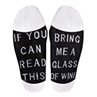 If You Can Read This Funny Saying Knitting Word Combed Cotton Crew Beer Chocolate Wine Socks,Gag Gift for Men Women