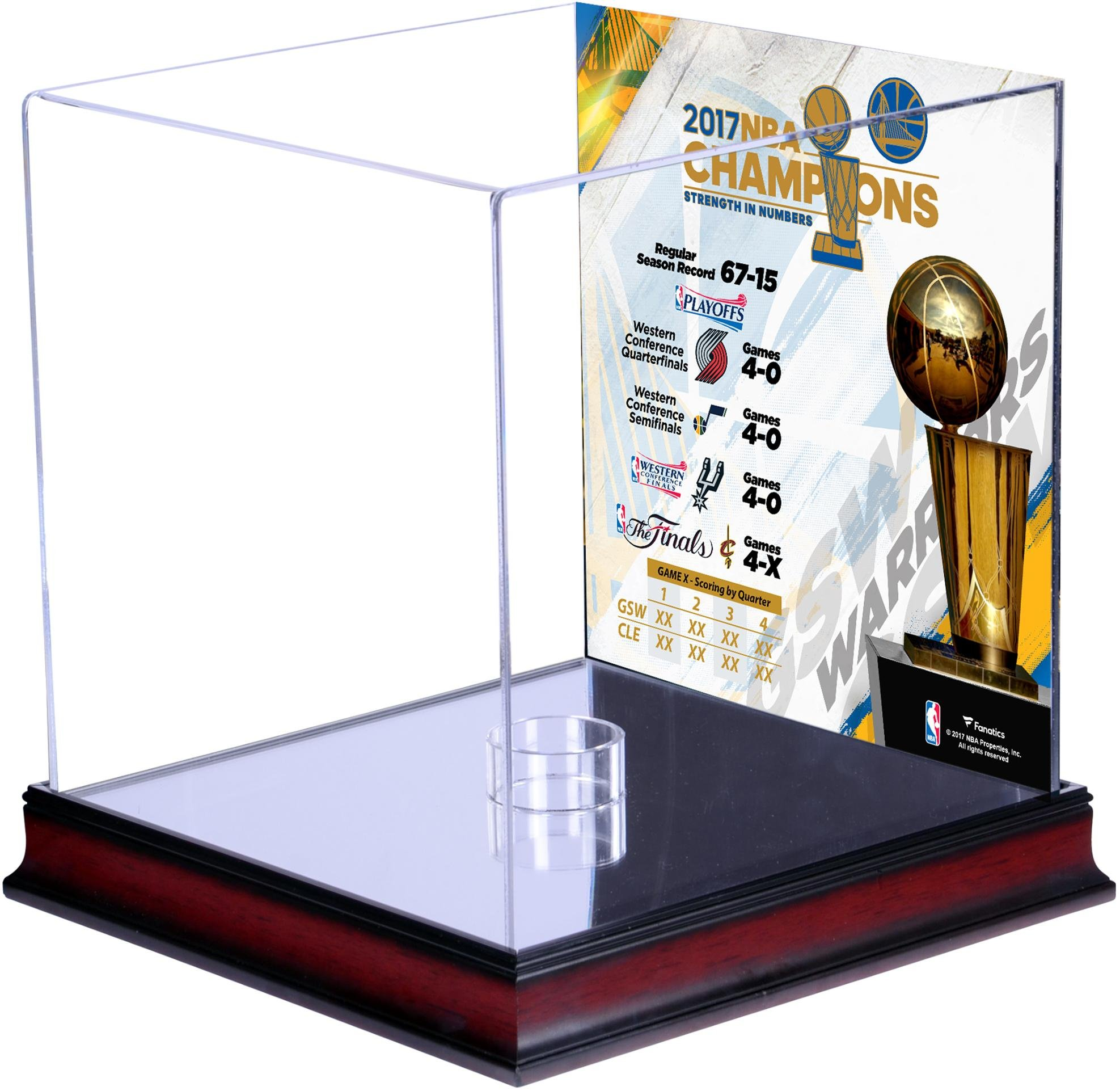 Golden State Warriors 2017 NBA Finals Champions Mahogany Basketball Display Case with Sublimated Collage - Fanatics Authentic Certified