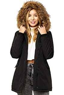 Elara Damen Winterparka   Jacke mit Echt Pelz Echt Fell Kapuze   Designer  Damenjacke   4150f4e19a