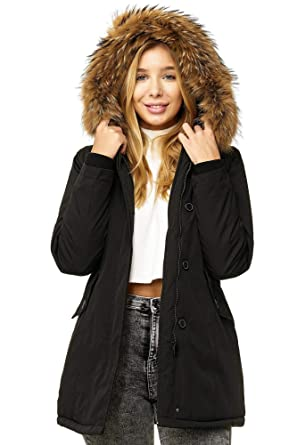 45e1174826e5 Elara Damen Winterparka   Jacke mit Echt Pelz Echt Fell Kapuze   Designer  Damenjacke