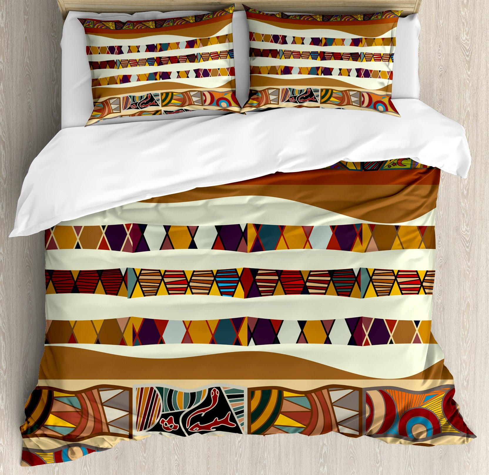 Ambesonne Tribal Duvet Cover Set King Size, Traditional African Folk with Cultural Featured Trippy Icons Boho Abstract Design, Decorative 3 Piece Bedding Set with 2 Pillow Shams, Multicolor