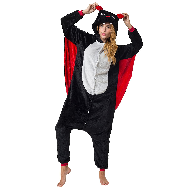 Katara 1744 - Kigurumi Pijamas Disfraz de Animal - Traje de Noche con Capucha - Adultos Unisexo - Murciélago, XL: Amazon.es: Juguetes y juegos