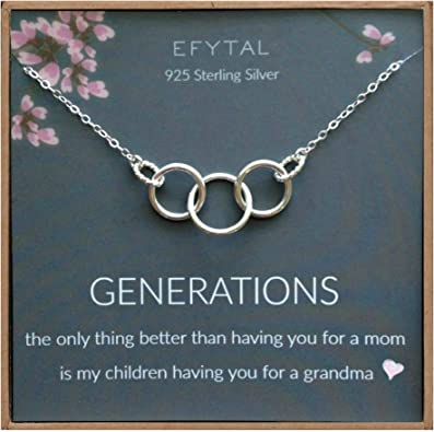 Mom /& Children Mothers Day Jewelry Birthday Gift Sterling Silver 3 Thick Infinity Circles EFYTAL Generations Necklace for Grandma