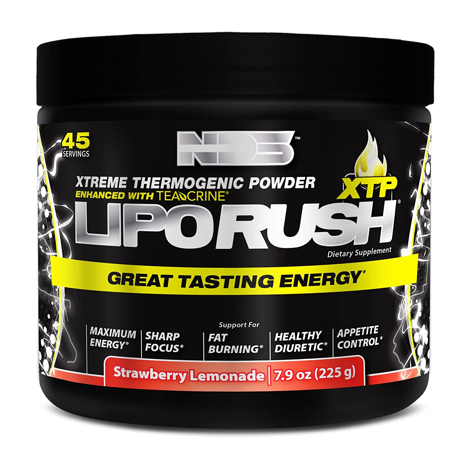 NDS Nutrition LipoRush XTP – Extreme Thermogenic Fat Burning Powder Enchanced with L-Carnitine and Teacrine – Maximum Energy, Sharp Focus, Appetite Control – Strawberry Lemonade – 45 Servings