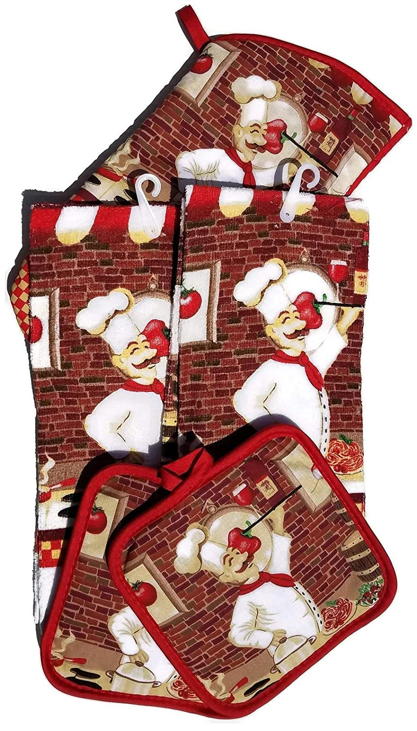 HomeConcept 5 Piece Kitchen Towel Set Includes 2 Towels 2 Potholders 1 Oven Mitt (Chef/Cook)