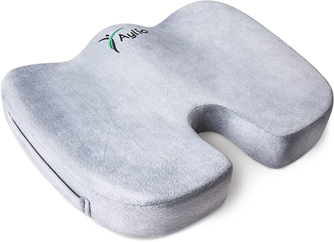 Amazon Com Aylio Coccyx Orthopedic Comfort Foam Seat Cushion For Lower Back Tailbone And Sciatica Pain Relief Gray Home Kitchen