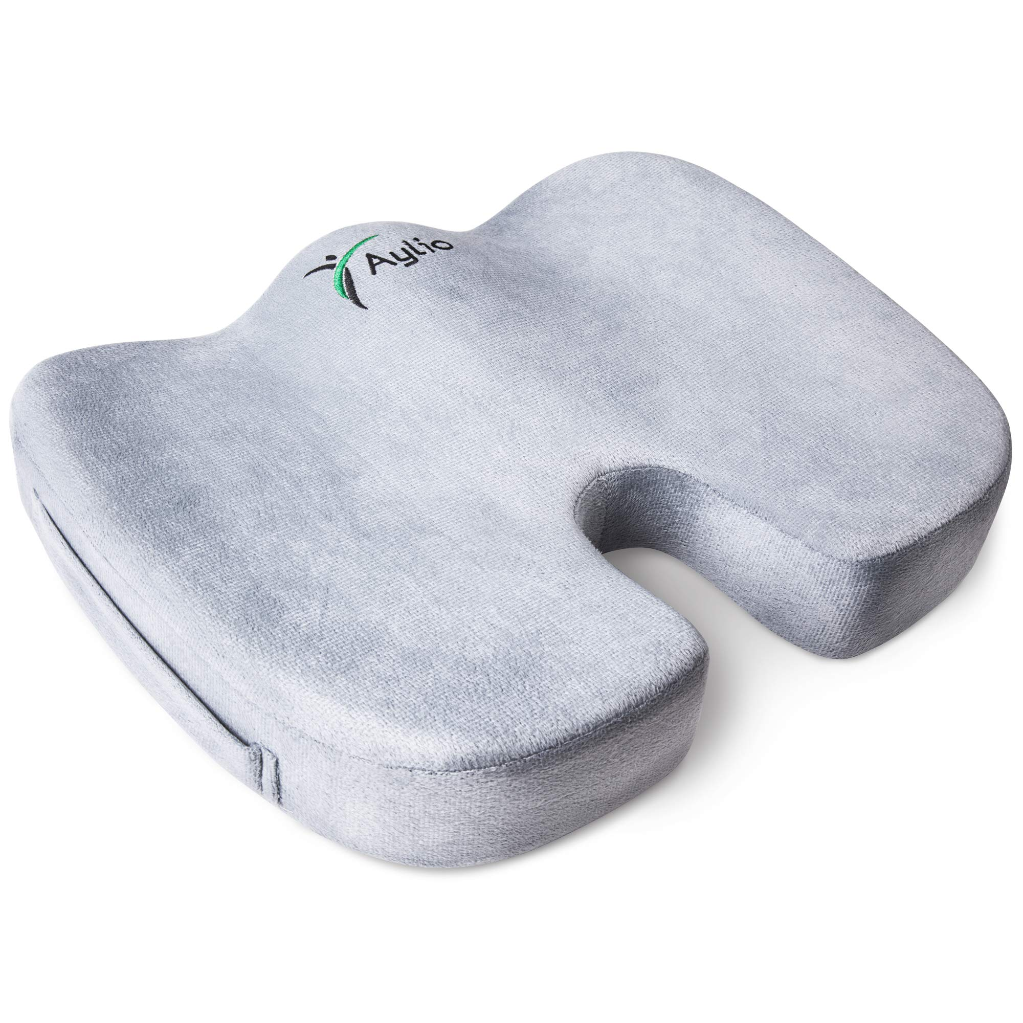 Aylio Coccyx Orthopedic Comfort Foam Seat Cushion for Lower Back, Tailbone and Sciatica Pain Relief (Gray) by Aylio