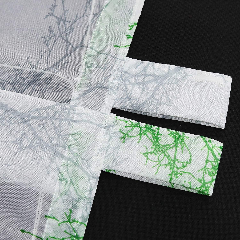 ESLIR Raffrollo mit Schlaufen Raffgardinen Voile Gardinen K/üche Transparent Schlaufenrollo Vorh/änge Modern B/äume-Motiven Gr/ün BxH 60x140cm 1 St/ück