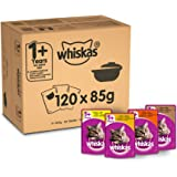 Whiskas 1+ Cat Pouches Casserole Poultry Selection in Jelly, 85 g, Pack of 120