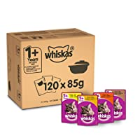 WHISKAS 1+ Cat Pouches Casserole Mixed Selection in Jelly, 120 x 85 g Mega Pack