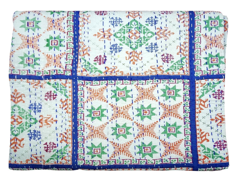 Bhavya International Cotton Handblock Print Kantha Quilt Bedspread Blue Throw Single Size Bedcover Bedding Blanket Gudari Ralli Deco 60x90