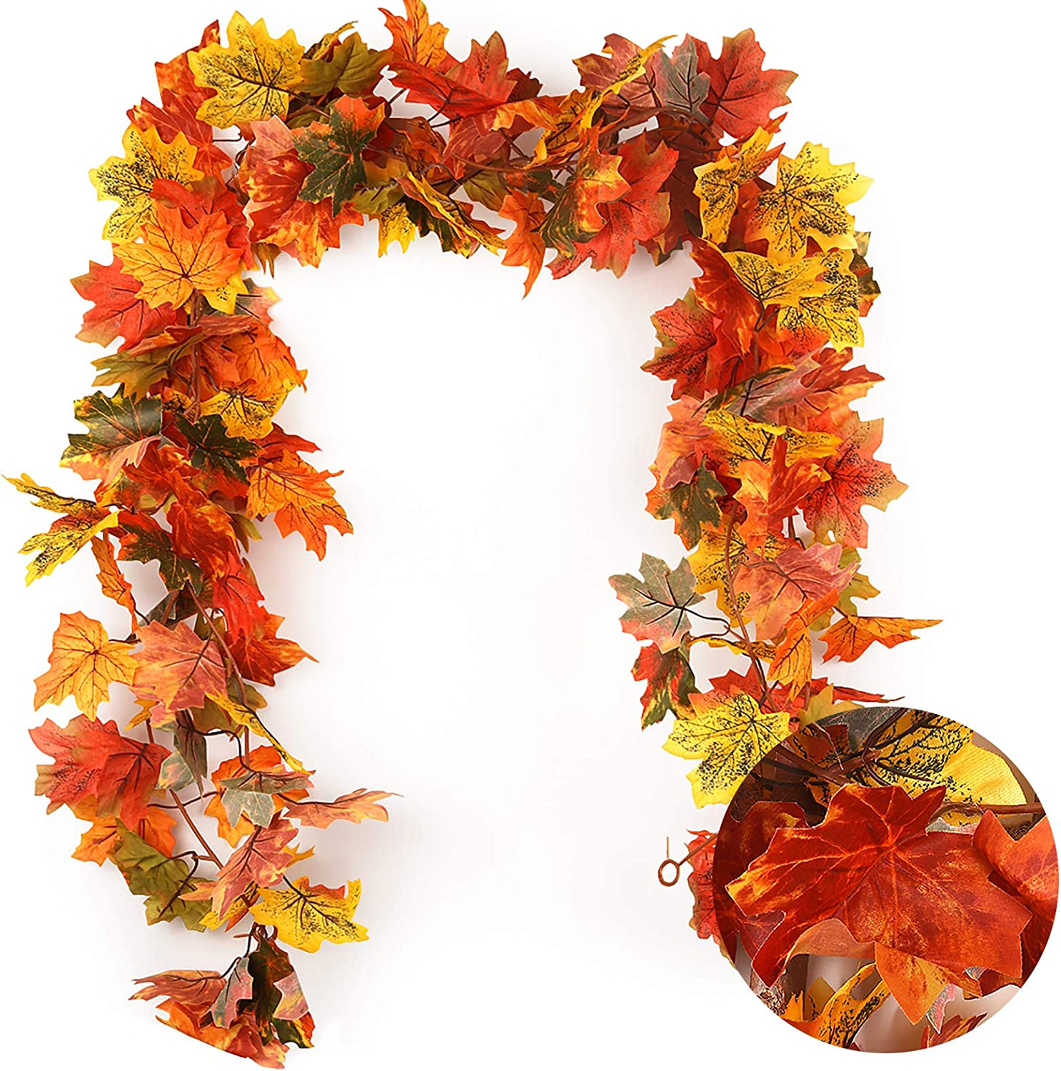 RECUTMS 2 Pack Fall Maple Garland - 5.8 FT/Pcs Autumn Hanging Fall Leave Vines for Home Garden Wedding Party Thanksgiving Dinner Fireplace Door Frame Doorway Backdrop Christmas Decor