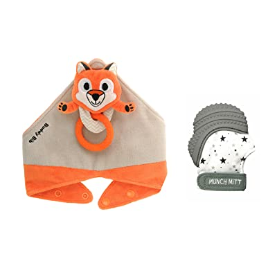 Munch Mitt The Original Mom Invented Teething Toy and 3 in 1 Buddy Bib- Self-Soothing Entertainment & Pain Relief for Baby- Ideal Mitt & Bib Combo Pack (Felix Fox/Grey Stars): Toys & Games