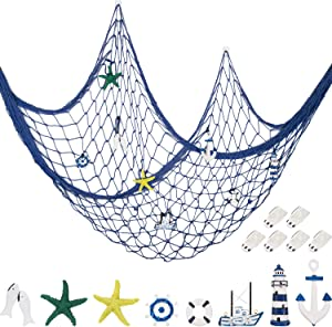 Decorative Fishnet Nautical Fishing Net Wall Hanging Decor, 8 Pieces Starfish, Sailboat, Lighthouse, Life Ring, Rudder, Anchor with Transparent Hook for Mermaid Mediterranean Party (Blue)