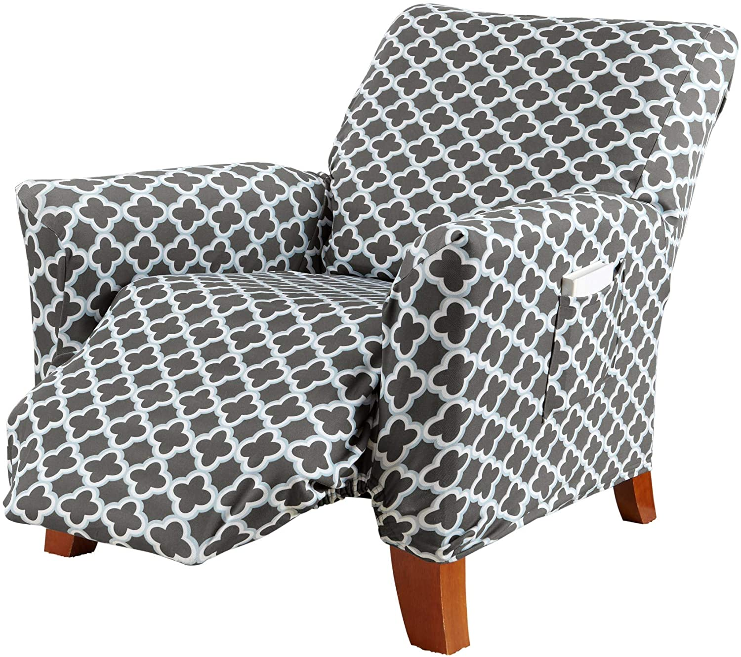 Printed Twill Recliner Slipcover. One Piece Stretch Recliner Cover. Strapless Recliner Cover for Living Room. Fallon Collection Slipcover. (Recliner, Charcoal)