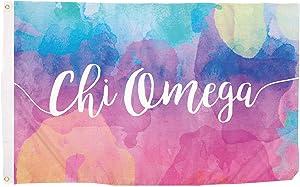 Chi Omega Water Color Sorority Flag Greek Letter Banner Large 3 feet x 5 feet Sign Decor chi o (Flag - Water Color)