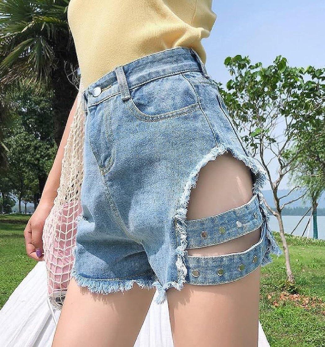 DressUWomen womens Stylish High Waisted Burr Wide Legs Fit Wide Legs Jeans Short Ligblu