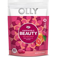 OLLY Undeniable Beauty Gummy, 30 Day Supply (60 Gummies), Grapefruit Glam, Biotin, Vitamin C, Keratin, for Hair, Skin…