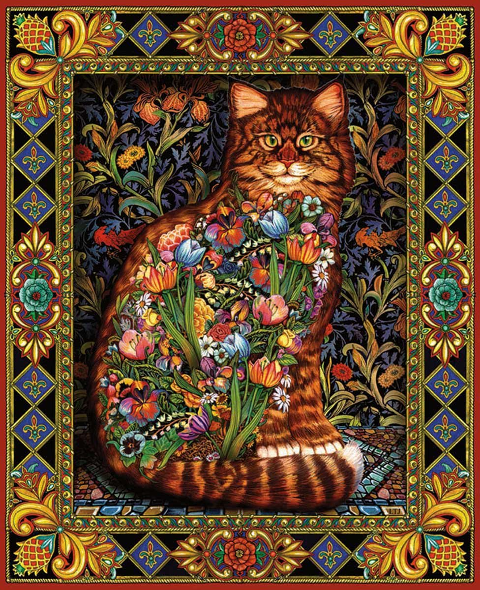 White Mountain Puzzles Tapestry Cat - 1000 Piece Jigsaw Puzzle