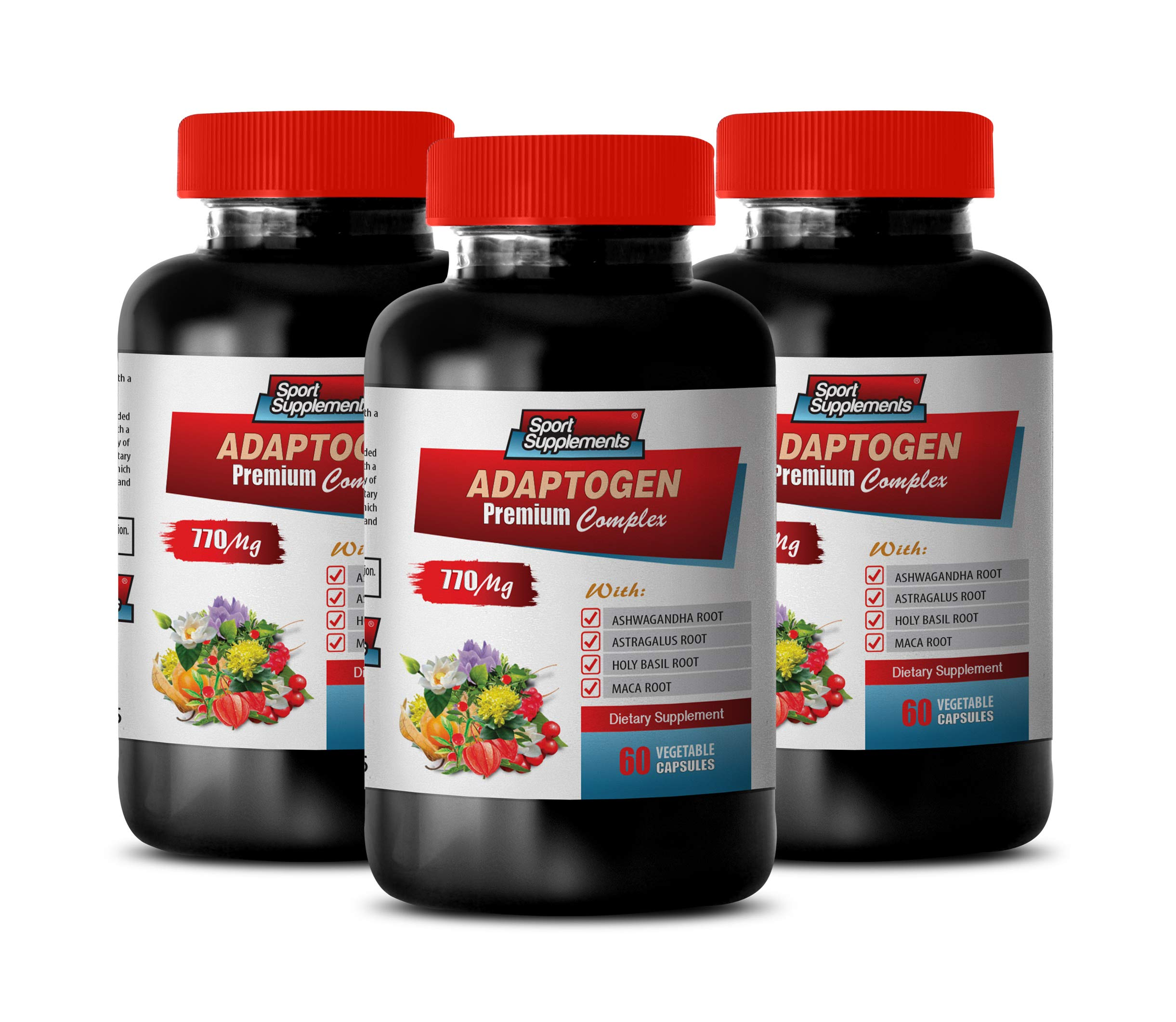 Anxiety and Stress Relief Supplements - ADAPTOGEN Premium Complex 770MG - maca Root Supplement - 3 Bottles 180 Vegetable Capsules