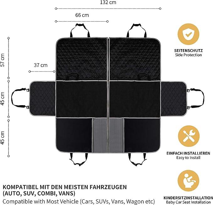 Protezione Laterale 147 x 137 cm SUV Divisibile e Impermeabile 2 Grandi Tasche e Cintura per Cani Toozey Coprisedile Telo Auto per Cani Antiscivolo per Sedile Posteriore Auto con Rete Centrale