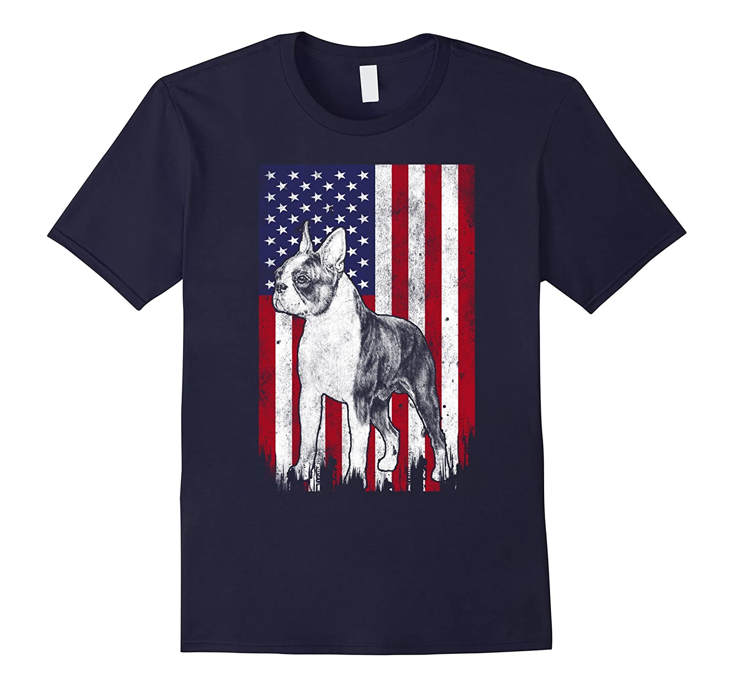 Boston Terrier American Patriot t shirt US Flag Dog shirt-PL