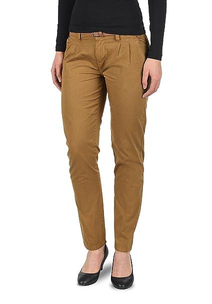 230260e411 Desires Jacqueline Pantalón Chino Pantalón De Tela para Mujer con Cinturón  De 100% Algodón Slim-Fit  Amazon.es  Ropa y accesorios