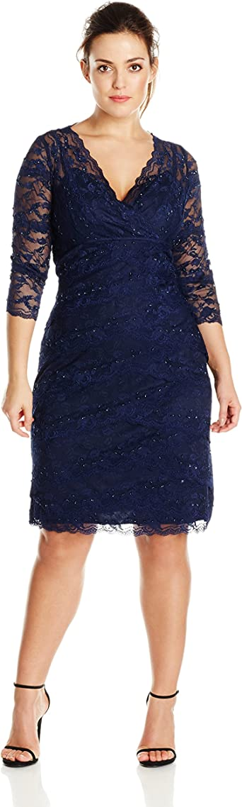 Marina Womens Plus-Size Crescent Lace Dress Criss Cross at Front