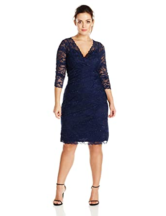 Marina Womens Plus Size Crescent Lace Dress Criss Cross At Front At
