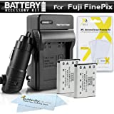 2PK Battery + Charger Kit For Fuji Fujifilm Instax Mini 90 Neo Classic Instant Film Camera, FinePix Z900EXR, XP60 T550 T560 T510 Camera Includes 2 (1100Mah) Replacement NP-45A Battery + Charger ++