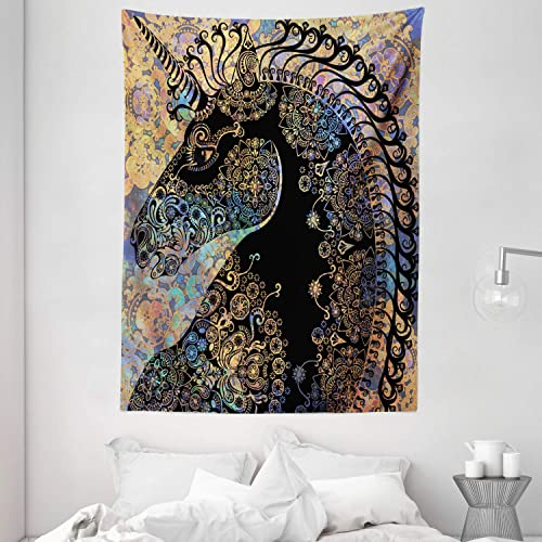 Ambesonne Unicorn Tapestry, Fairytale Unicorn Profile with Circular Mandala Flower Boho Motif Artwork, Wall Hanging for Bedroom Living Room Dorm, 60 X 80 , Black Lavender