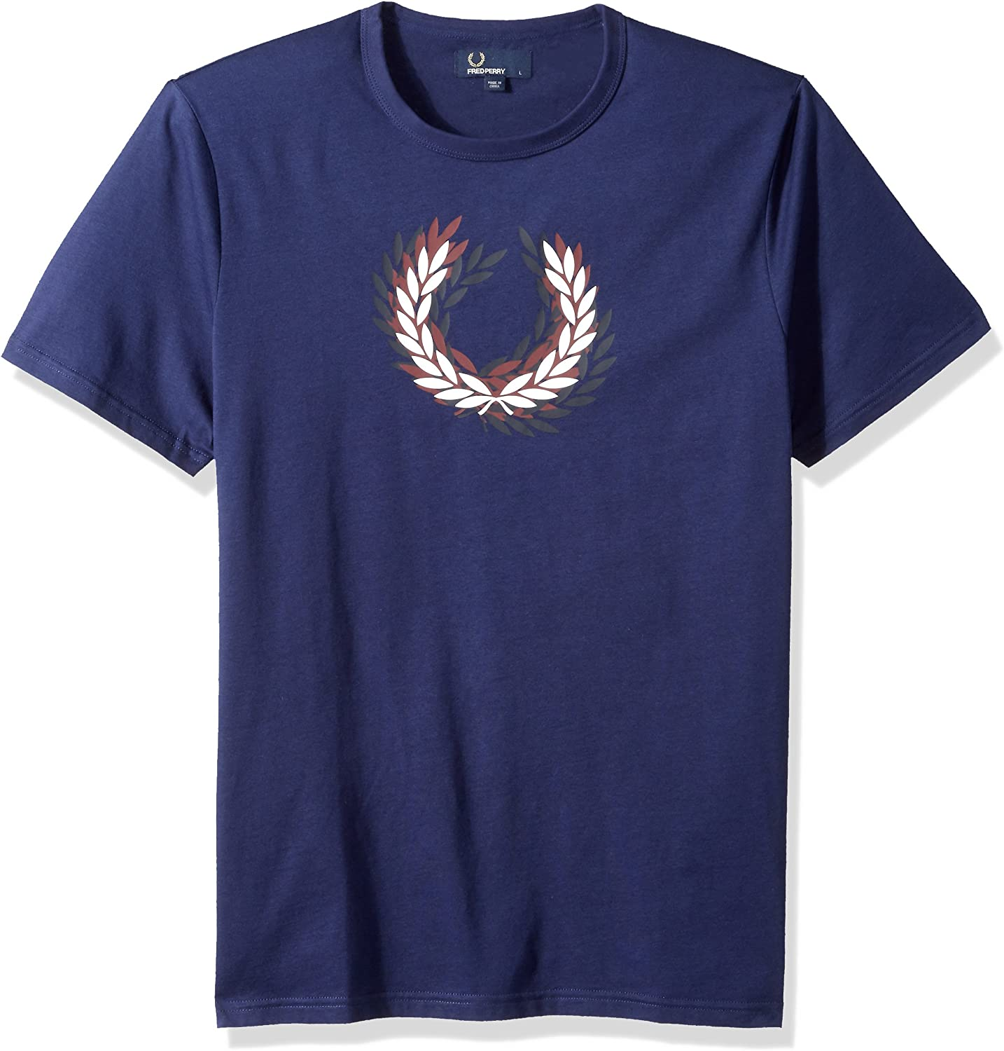 Fred Perry Distorted Laurelwreath T-Shirt French Navy, Camiseta