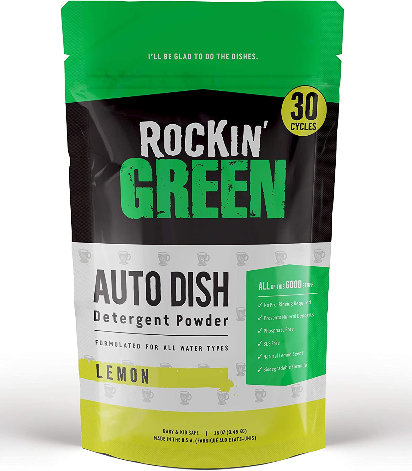 Rockin' Green Natural Dishwasher Detergent | Eco-Friendly, Biodegradable, No Pre-Rinsing | Lemon Scent - 30 loads