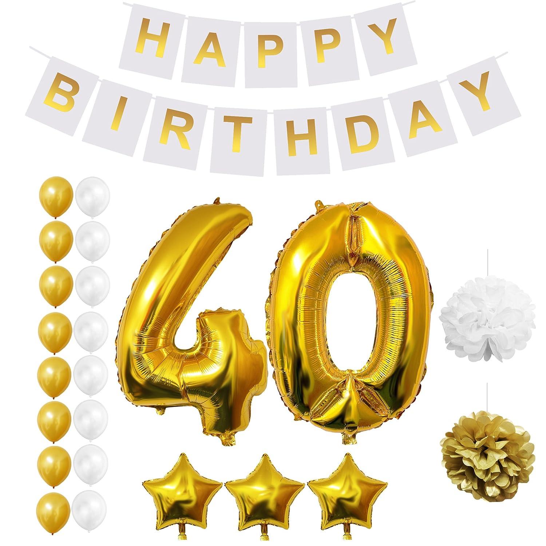 Globos Cumpleaños Happy Birthday, Suministros y Decoración por Belle Vous - Globo Grande de Aluminio - Decoración Globos De Látex Dorado y Blanco - ...