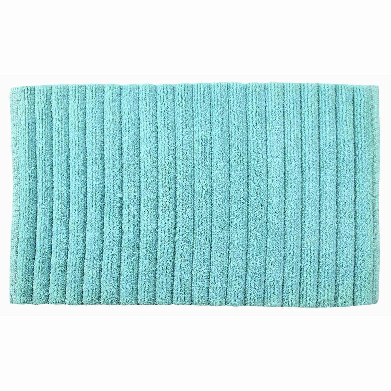 Burma, lussuoso tappetino da bagno e doccia, in 100% cotone, super morbido, assorbente, moderno, modello felpato a coste, 100% Cotone, Aqua, 50 cm x 80 cm Ideal Textiles