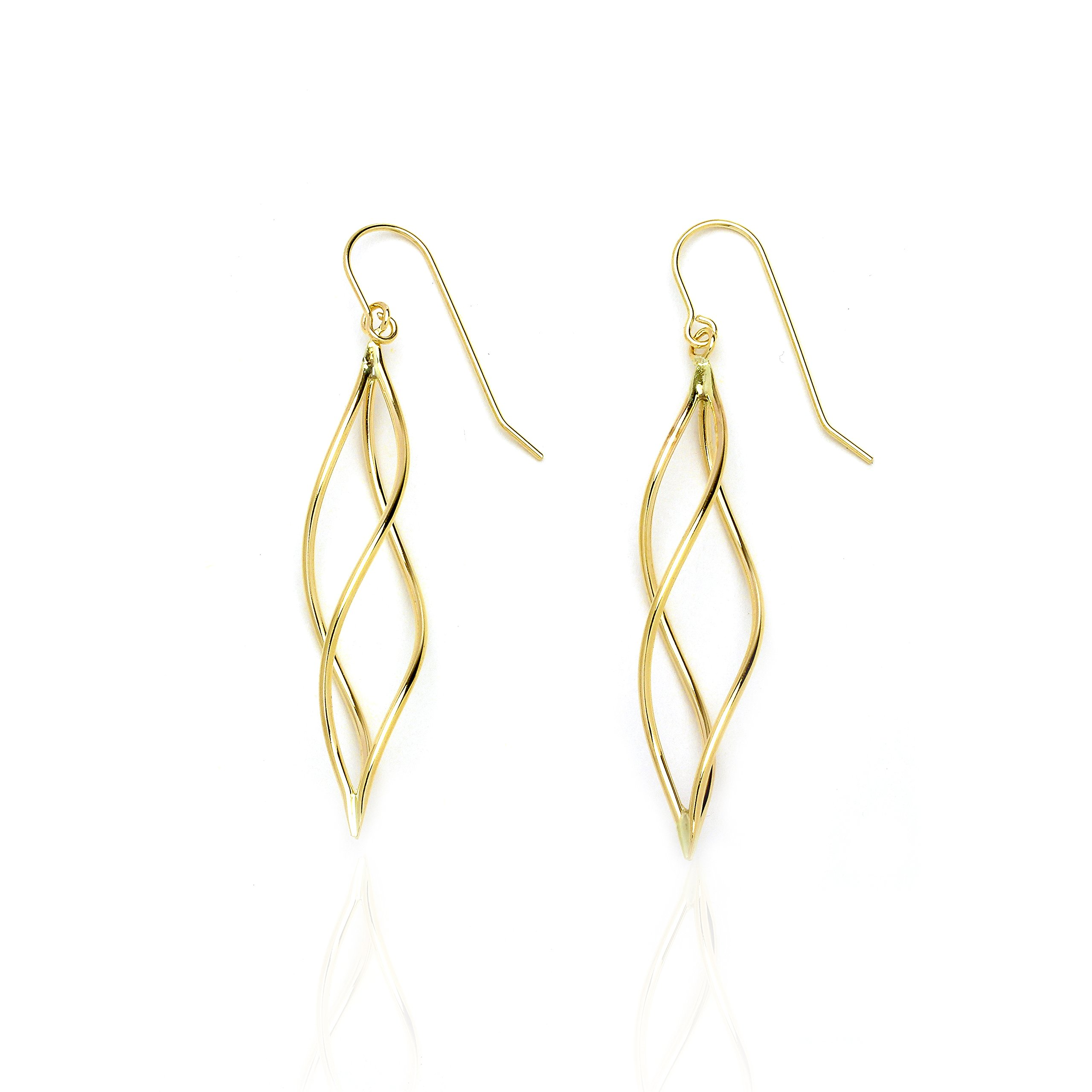 14k Yellow Gold Twisted Pointing Oval Drop Earring with Fish Hook in Gift Box for Women and Teen Girls