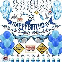 Shark Birthday Party Decorations,74pcs Shark Theme Birthday Party Supplies for Kids,Boys Include Shark Balloons,Shark…