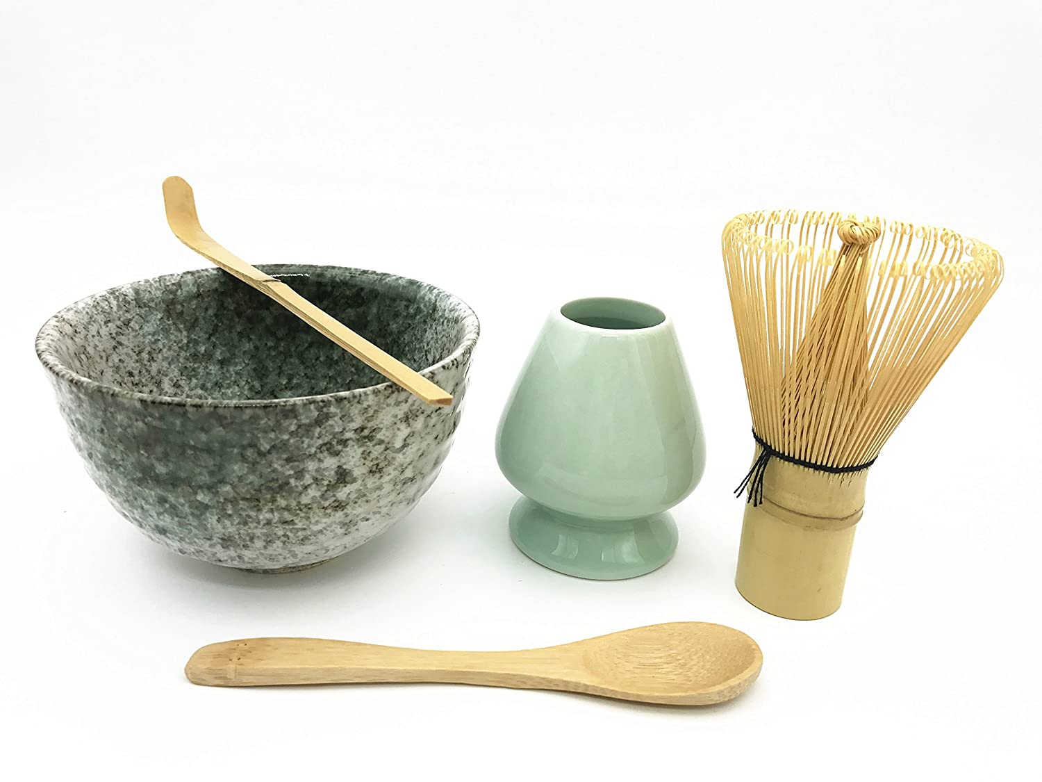 Home Soul Matcha Accessories Set Include 5 items-100 Prongs Bamboo Whisk Chasen,Bamboo Spoon & Scoop,Ceramic Matcha Bowl & Whisk Holder(Jade)